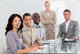 Potrait of a business team at a presentation