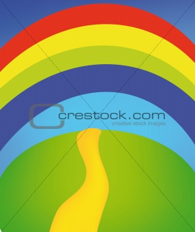 countryside with rainbow