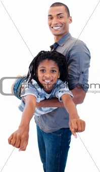 Afro-American father playing woth his son