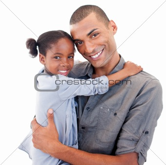 Afro-American father holding her little daughter