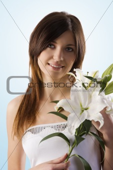 beauty girl with lily