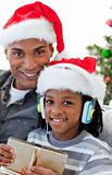 Portrait of an Afro-American father and son at Christmas time