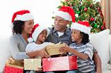 Afro-American family celebrating Christmas at home