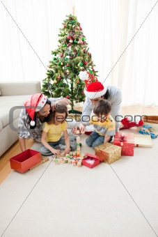 Happy familiy at christmas time