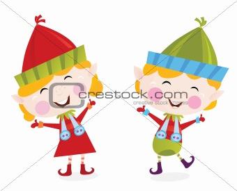 Christmas boy and girl elves