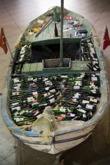 fishing boat with wine on deck