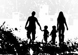 Grunge background with Family Silhouette