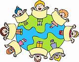 Globe with Surrounding Kids