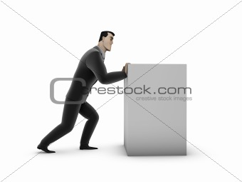 Businessman and box