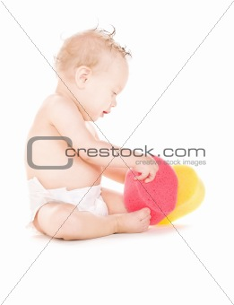 baby boy with sponges