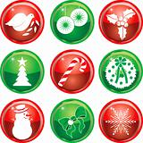 Nine Christmas Icons Buttons 1