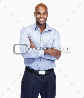 African American business man with hands folded on white