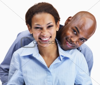 Business couple enjoying on white background