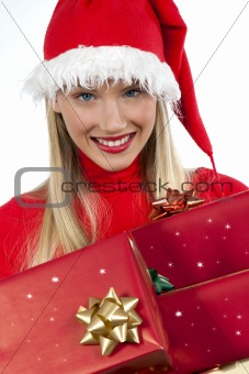 Attravtive santa girl with presents