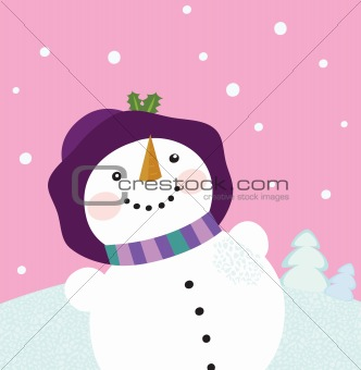 It's snowing - Winter snowman lady