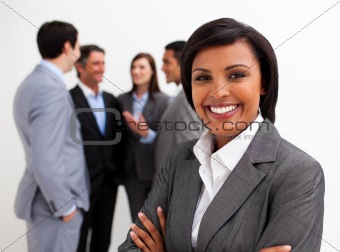 Beautiful businesswoman leading her team