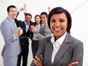 Business people celebrating a success