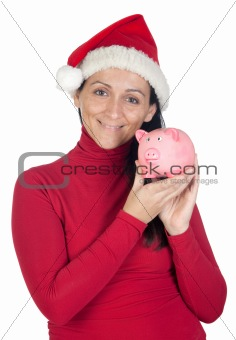 Beautiful girl with Christmas hat saving