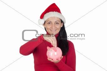 Beautiful girl with Christmas hat saving