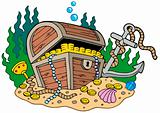 Treasure chest on sea bottom