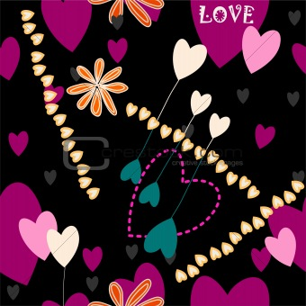 crazy background with heart motive