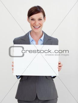 Attractive businesswoman holding white card