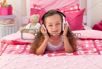 Little girl listening music