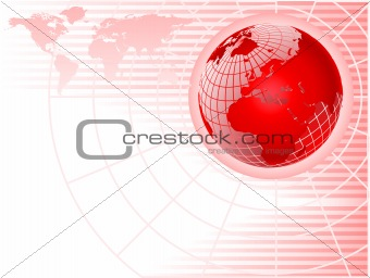 An abstract red background with a wiremesh globe