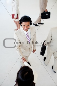Business people shaking hands in a business building