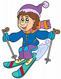 Cartoon skiing boy