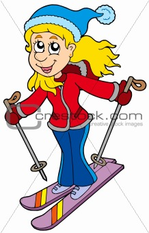 Cartoon skiing woman