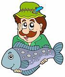 Fisherman holding big fish