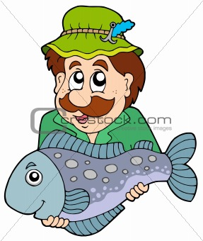 Fisherman holding big fish