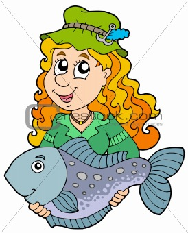 Fisherwoman holding big fish