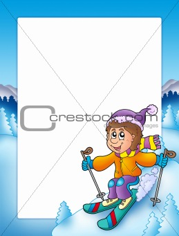 Frame with cartoon skiing boy