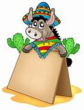 Mexican donkey with wooden table