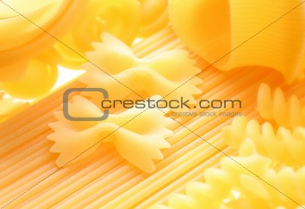 Back projected (lighted) macaroni (pasta)