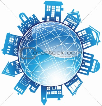 3D Globe with Surrounding Buildings