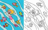 Girl goes snorkeling