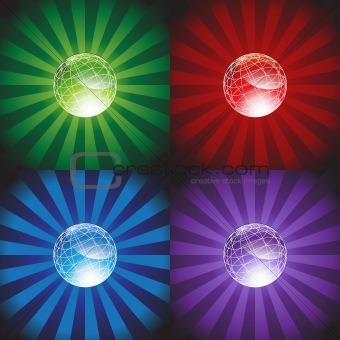 3D Globes with Burst Background
