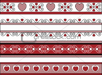 Vector of Four Valentine Borders With Gingham Trims