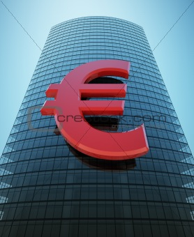 Skyscraper with red euro sign
