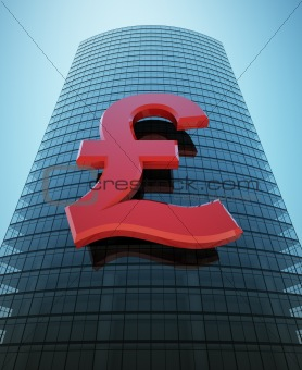 Skyscraper with red pound sign