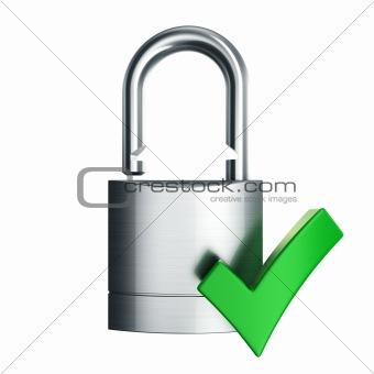 padlock with green checkmark