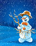 smiling snowman in winter night