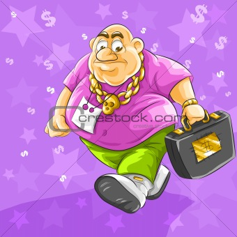 rich fat businessman with full suitcase of dollars money