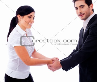 Corporate people hold their hands each other