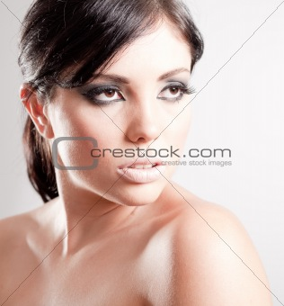 Close up shot of a make up woman