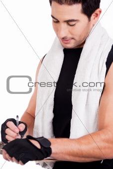 Fitness man marking