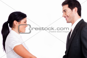 Business people looking each other